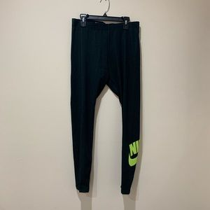 Nike Black and Neon Green Leggings Size M